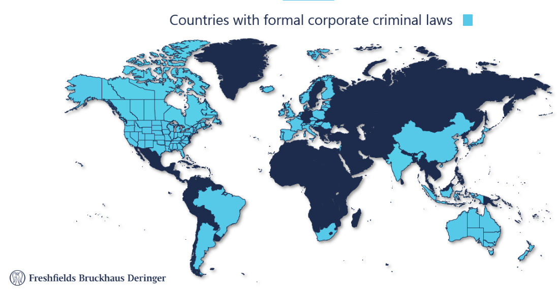 Countries with formal corporate criminal laws map graphic