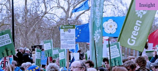Image of European Green Party slogans and banners